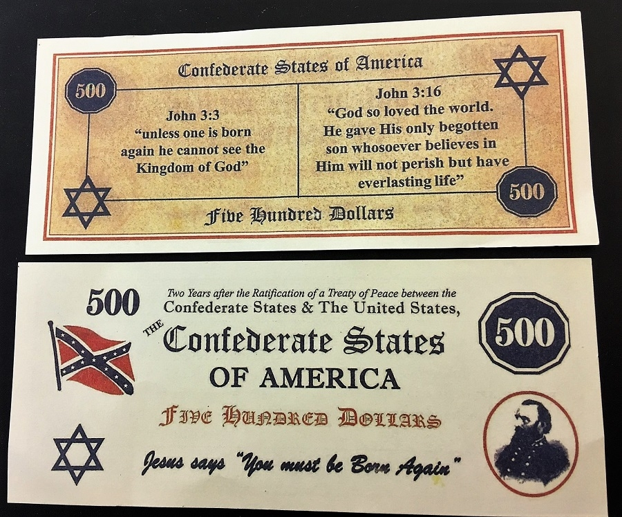 One of the fake Confederate States of America bills, front and back, discovered wedged into books at the Saratoga Springs Library.