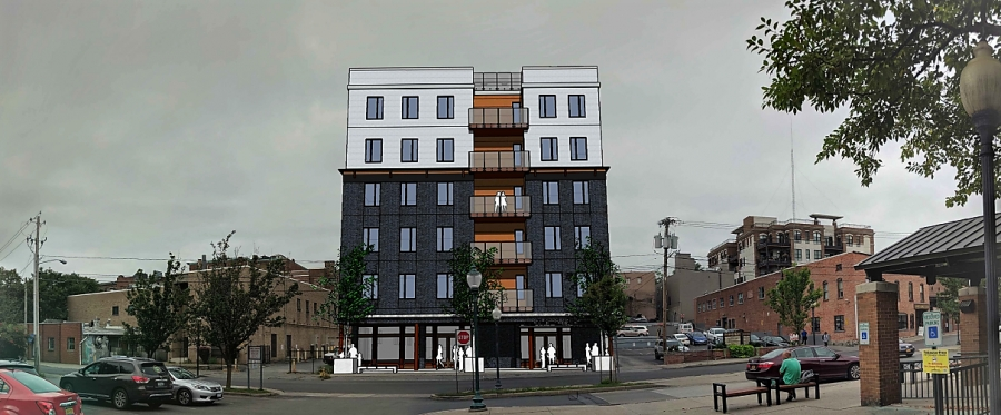 Rendering of proposed six-story condominium project at 53 Putnam St.