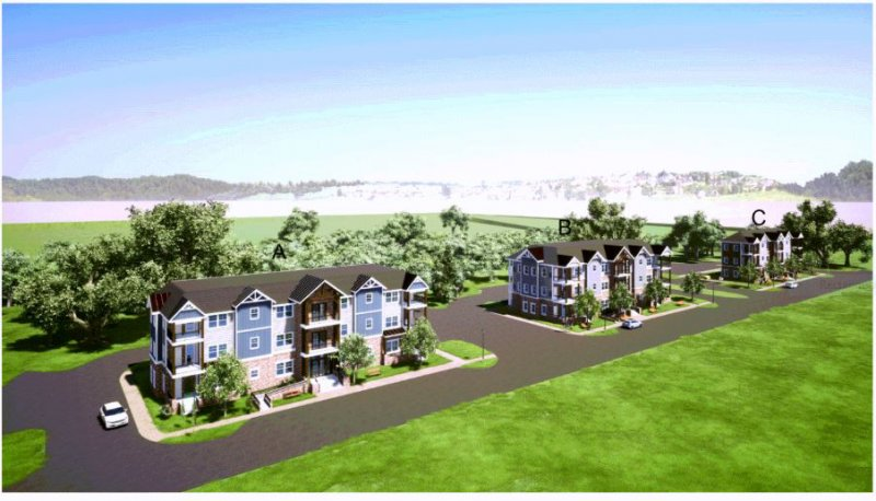 Rendering of proposed apartments at Station Lane, on the west side of Saratoga.