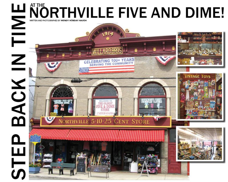 "Street view of the Northville 5 & 10, oldest five and dime store in America, located at122 S. Main Street, Northville, NY. Employee Jenny Crosby tends the Northville 5 & 10's delectable homemade fudge counter. The Five and Dime's ""Vintage Toys"" department appeals to kids of all ages. Photos by Wendy Hobday Haugh."