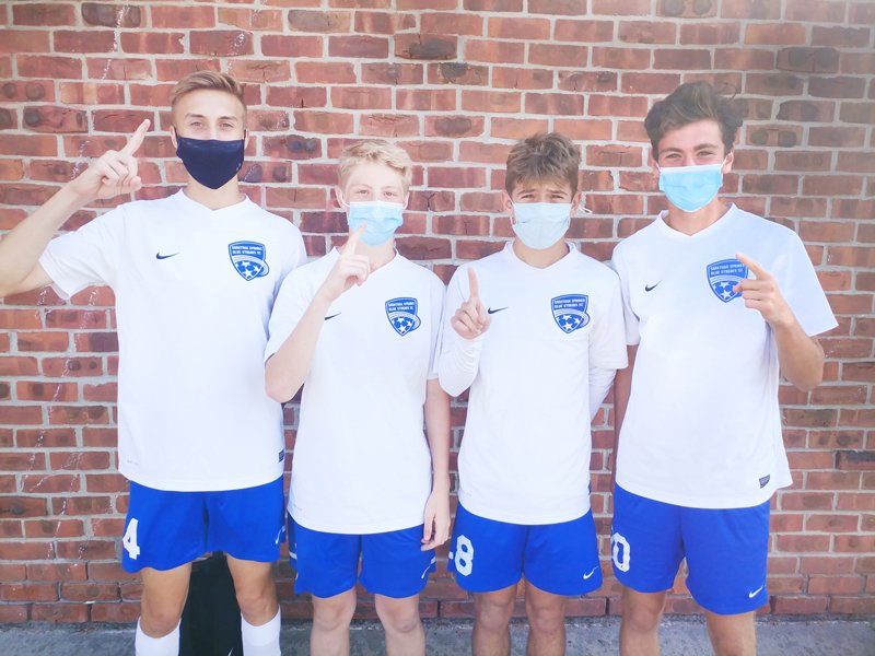 SSHS Soccer players (left to right) Zach Colangelo, Garrett Hedge,  Evan Hallett and Jack Donnelly all scored goals last week. Photo provided.