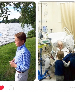 Left: Clarkie Carroll, today. Right: Clarkie being treated for bone cancer 18 months ago.