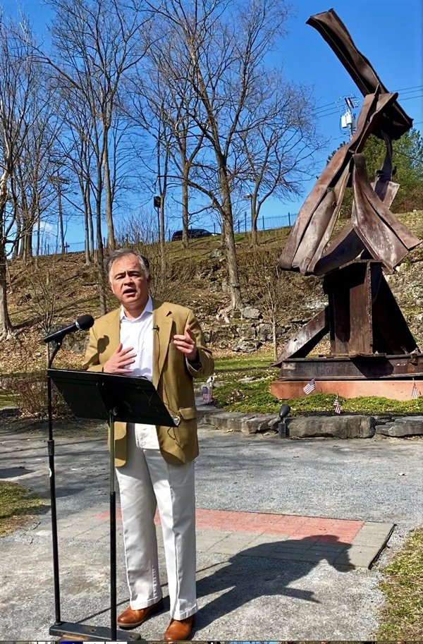 Ron Kim announces his candidacy for mayor of Saratoga Springs.  The announcement was made at the 9/11 Memorial in High Rock Park on April 7, 2021. Photo by Thomas Dimopoulos.